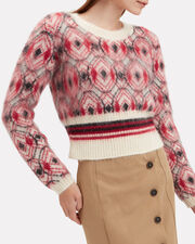 Mohair Cropped Sweater, RED/BLACK//IVORY, hi-res