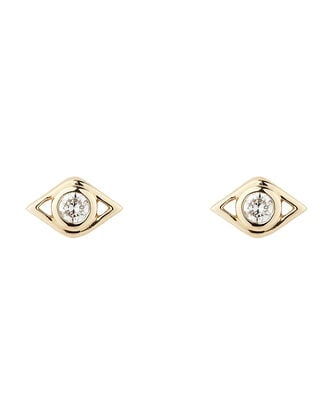 Evil Eye Diamond Studs, GOLD, hi-res