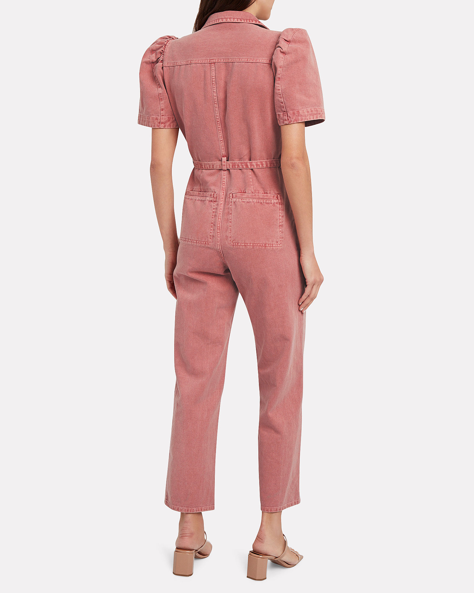Corbin Puffed Sleeve Denim Jumpsuit, DUSTY ROSE, hi-res