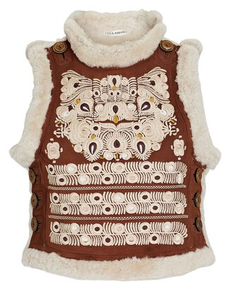 Cosmo Embroidered Shearling Vest, MULTI, hi-res