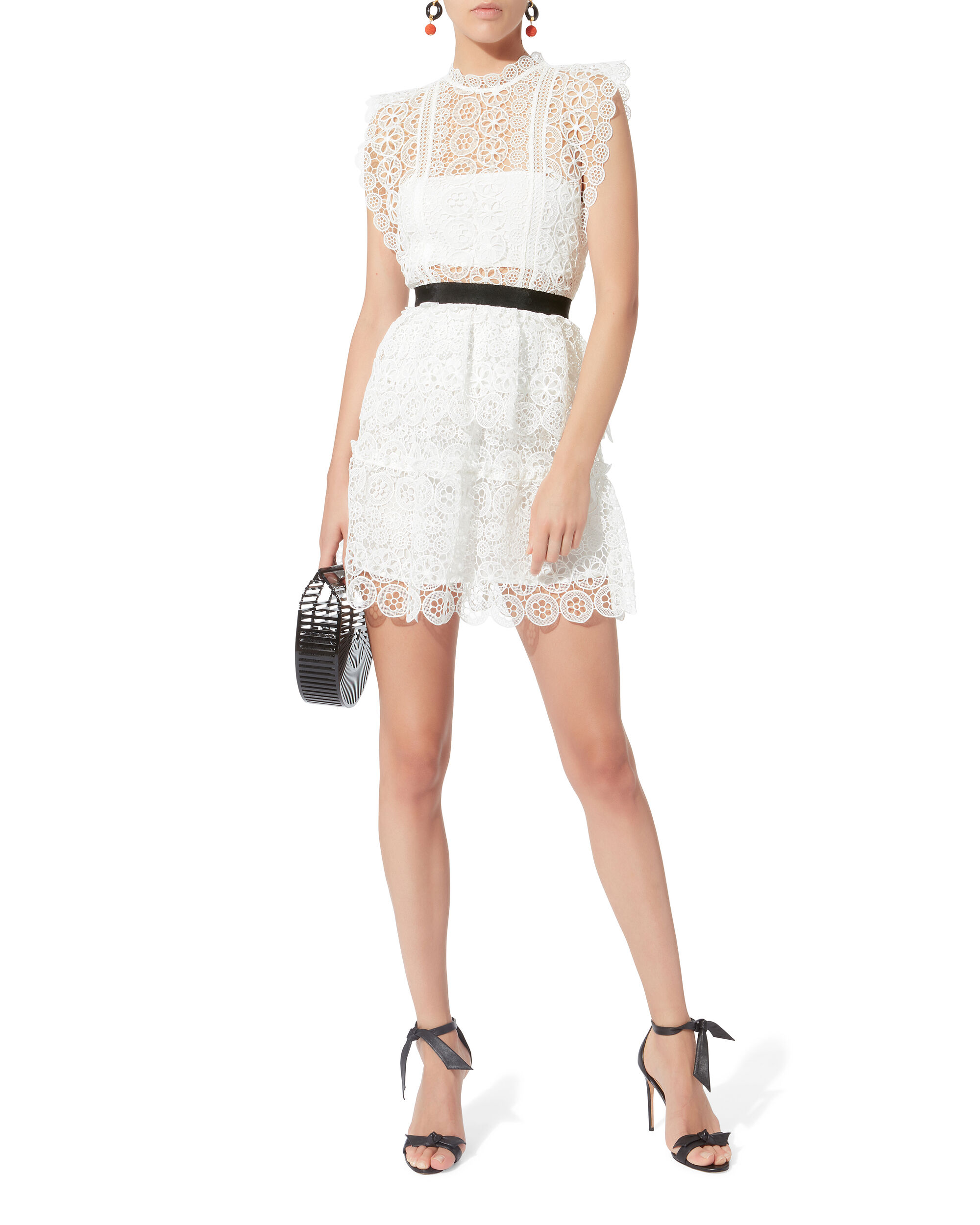 Circle Floral Lace Mini Dress, WHITE, hi-res