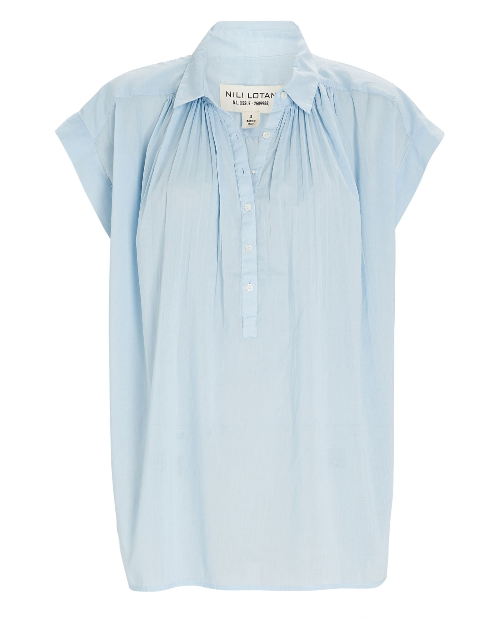 Normandy Cotton Voile Blouse, LIGHT BLUE, hi-res