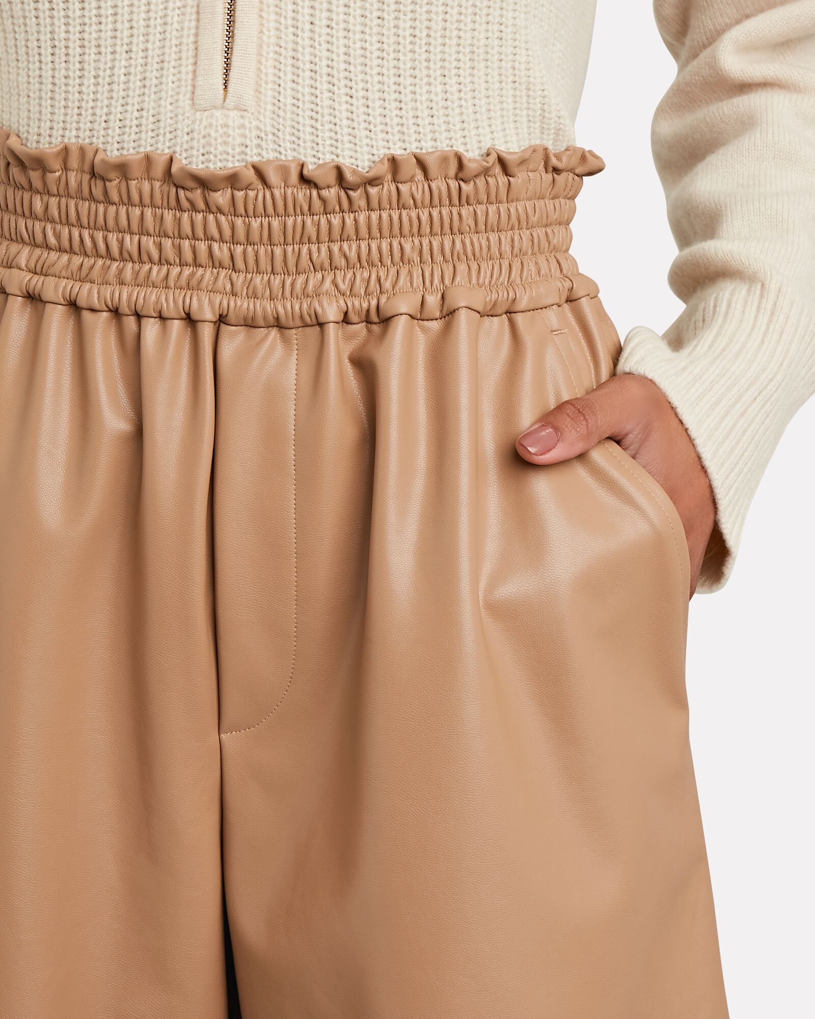 Kaleb Vegan Leather Shorts, BEIGE, hi-res