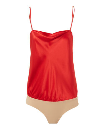 Dean Draped Bodysuit, RED, hi-res