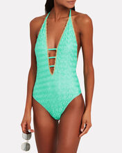 Metallic-Trimmed One-Piece Swimsuit, TURQUOISE, hi-res