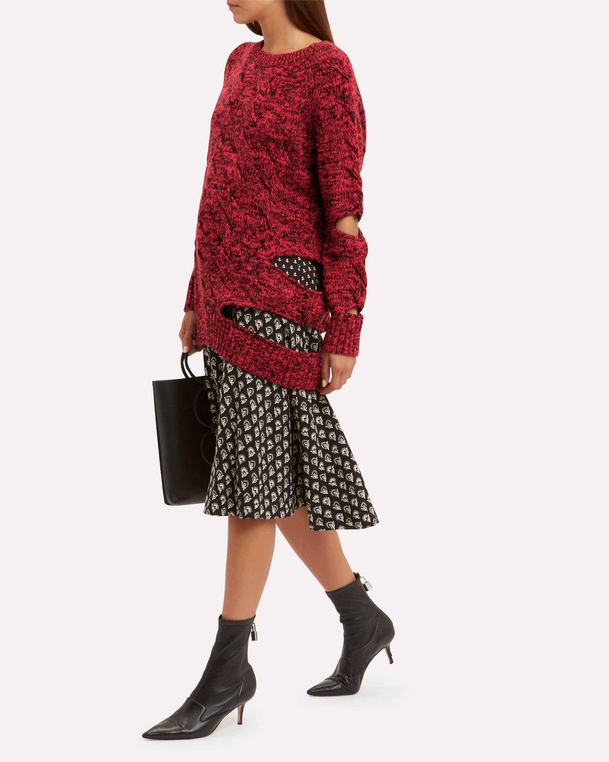 Haston Cutout Sweater, RED, hi-res