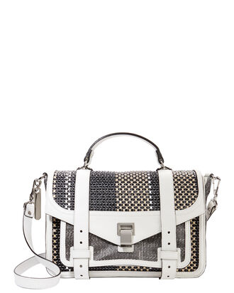 PS1 Mixed Woven Medium Satchel, WHITE, hi-res