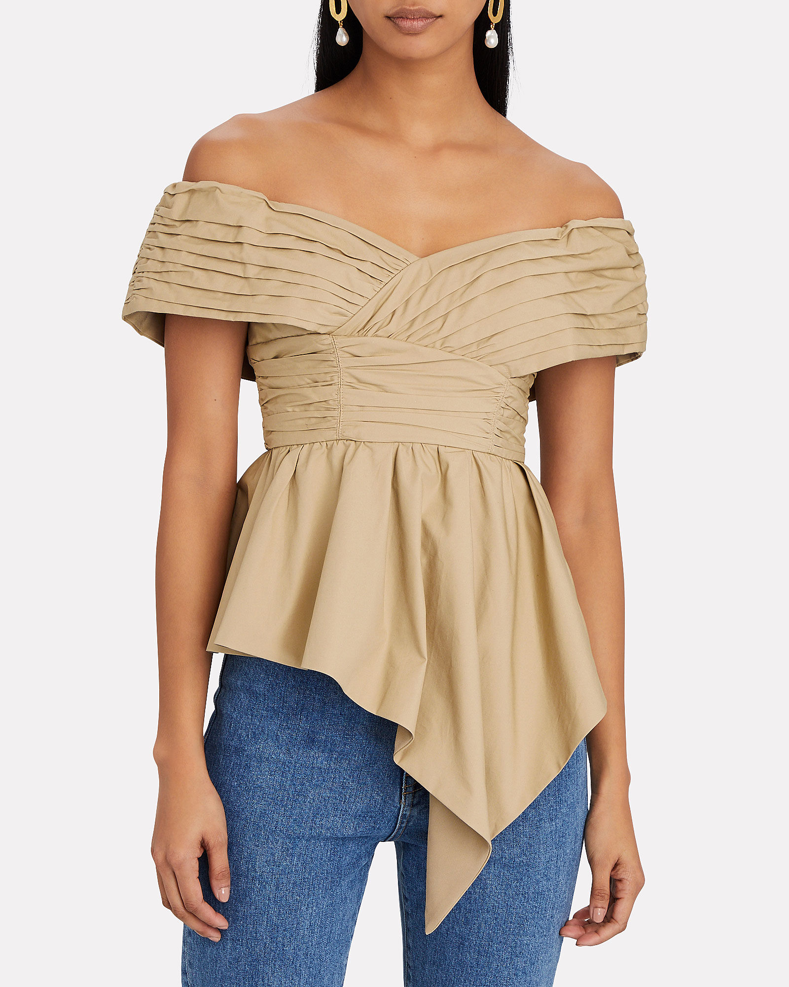 Asymmetric Off-the-Shoulder Poplin Top, BEIGE, hi-res