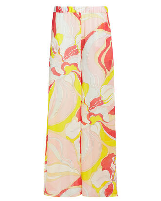 Rivera Wide Leg Silk Pants, YELLOW/PINK, hi-res