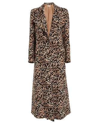 Tiger Print Trench Coat, BROWN/BLACK, hi-res