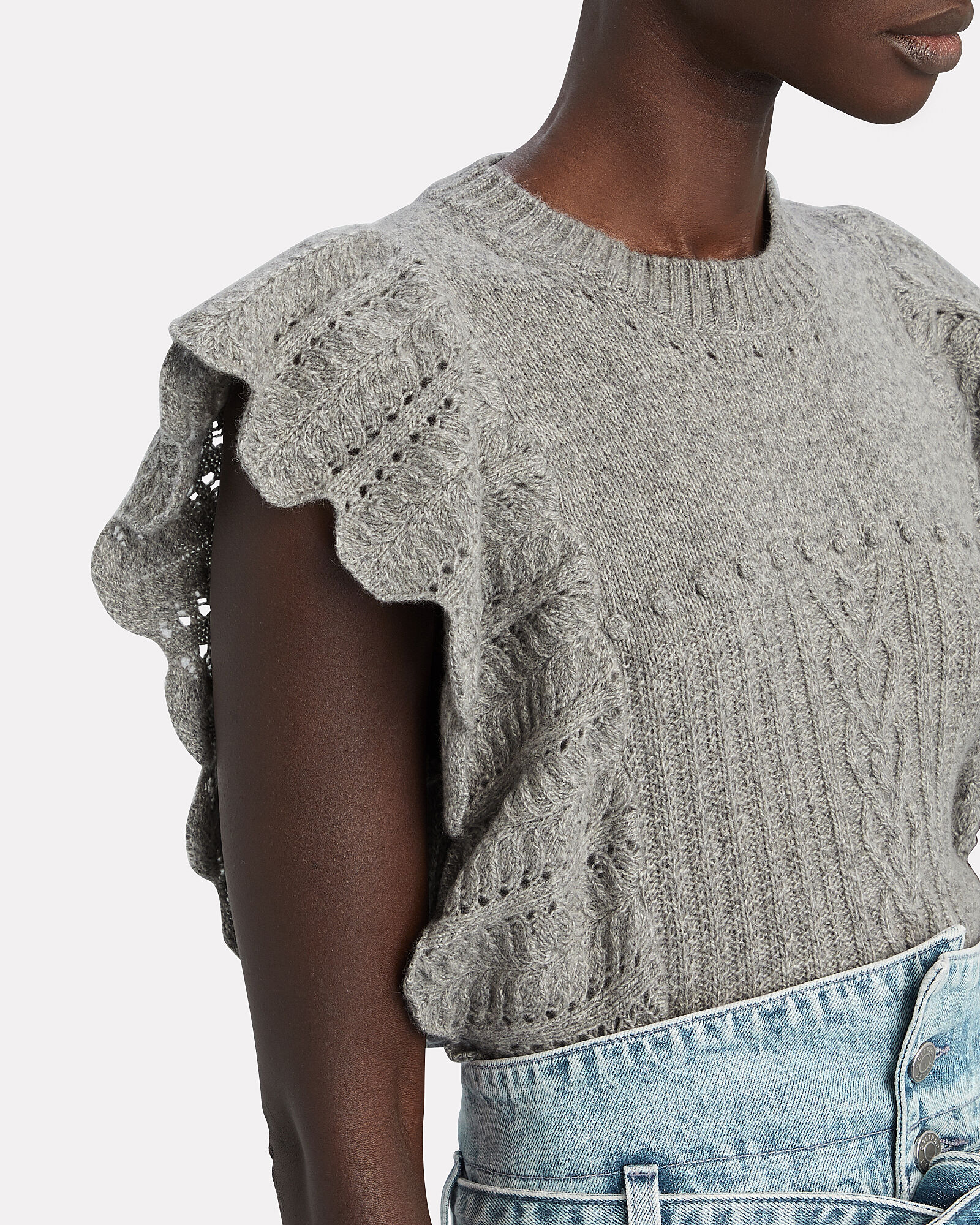 Ruffled Wool-Cashmere Sweater, , hi-res