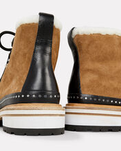 Compass Shearling Booties, BROWN, hi-res