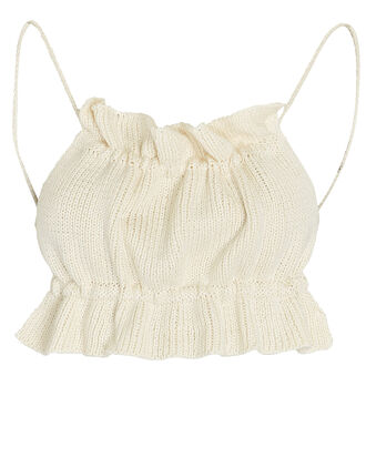 Ruby Cropped Knit Tie-Back Tank Top, IVORY, hi-res