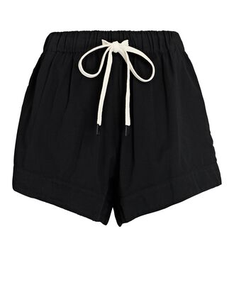 Cotton Twill Shorts, BLACK, hi-res