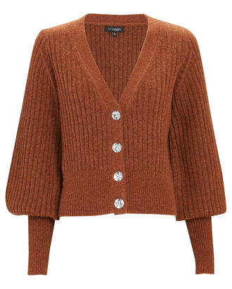 Ella Jewel Button Cardigan, BROWN, hi-res