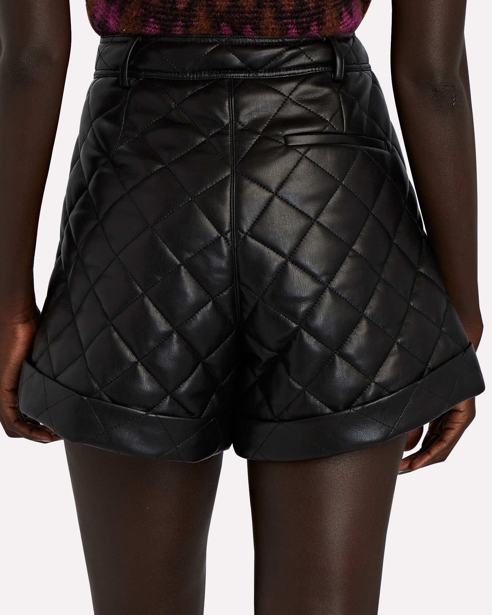 Quilted Faux Leather Shorts, BLACK, hi-res