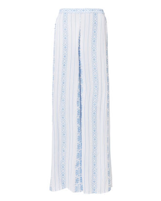 Embroidered Side Slit Pants, BLUE-LT, hi-res