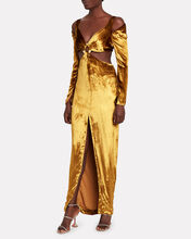 Priya Velvet Cut-Out Dress, GOLD, hi-res