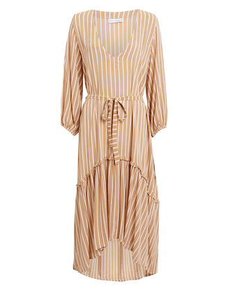 Matilda Peasant Midi Dress, BEIGE STRIPE, hi-res