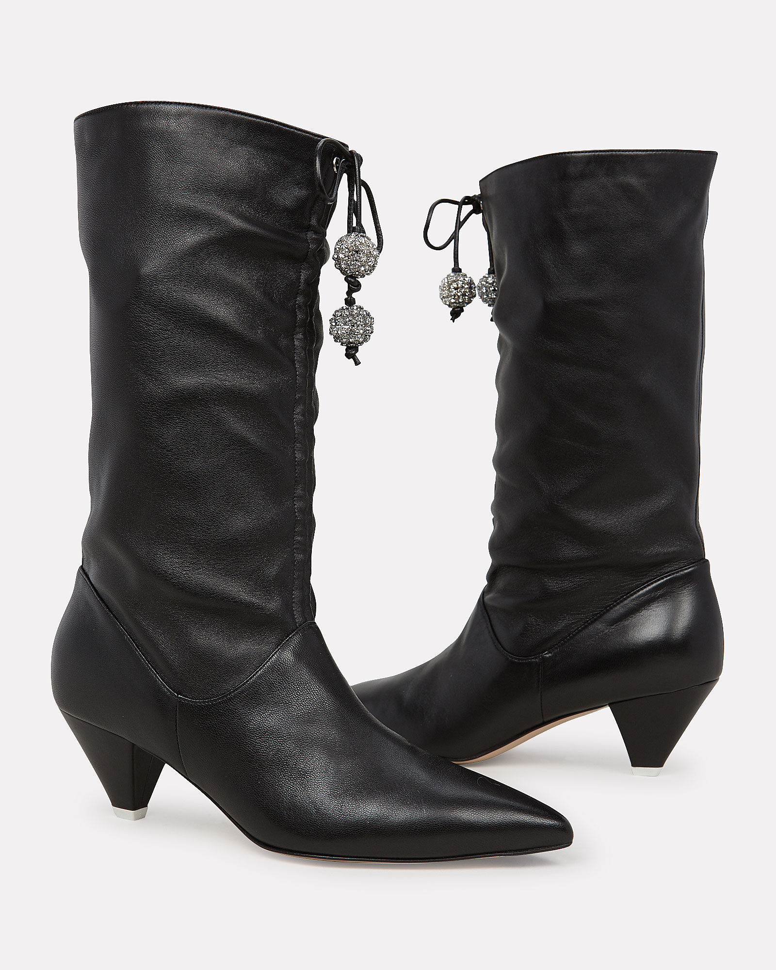Cinched Leather Heeled Booties, BLACK, hi-res