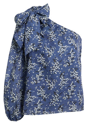 Enid One Shoulder Blouse, BLUE FLORAL, hi-res