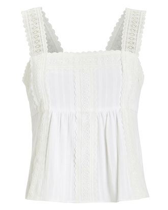 Laisey Cotton Lace Top, WHITE, hi-res