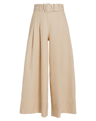 Belted Wide Leg Linen Trousers, BEIGE, hi-res