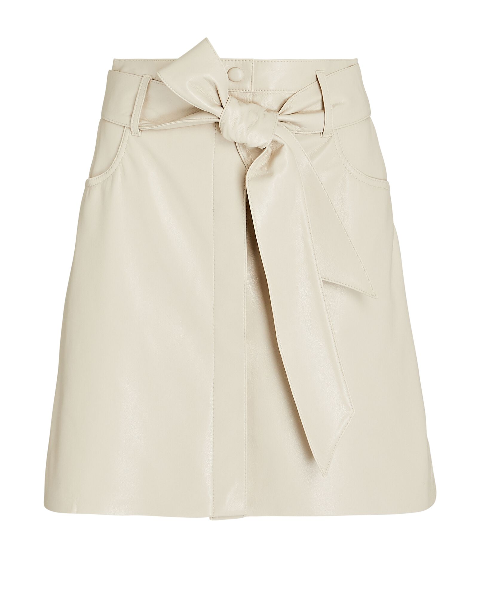 Meda Vegan Leather Mini Skirt, IVORY, hi-res