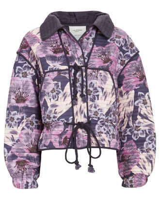 Haines Quilted Floral Cotton Jacket, PURPLE, hi-res