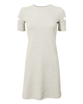 Slash Sleeve Ribbed Dress, GREY-LT, hi-res