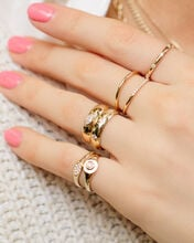 Small Oval Pavé Signet Ring, GOLD, hi-res
