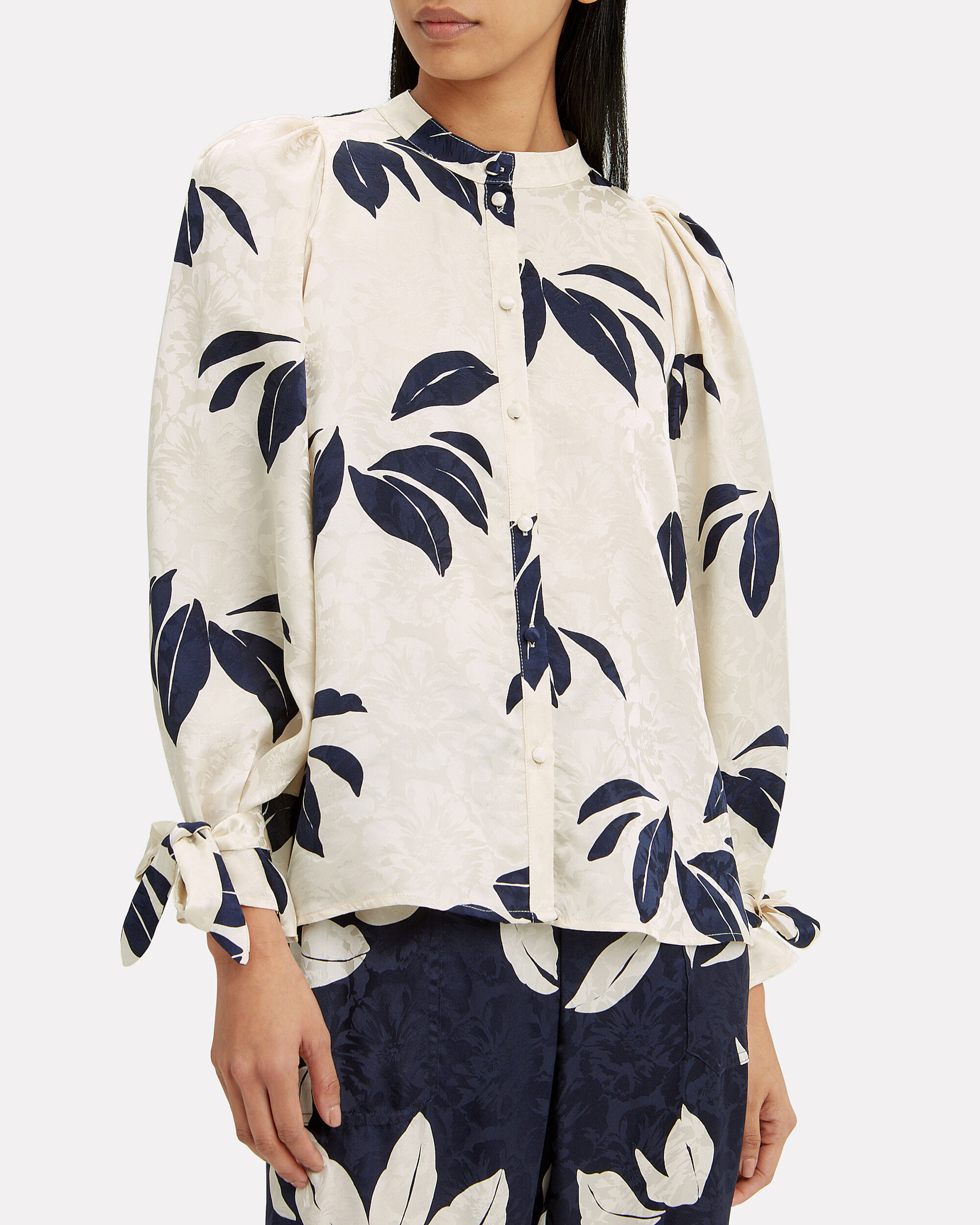 Francesca Blouse, IVORY/NAVY, hi-res