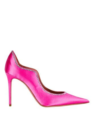 Romy Wavy Satin Pumps, PINK, hi-res