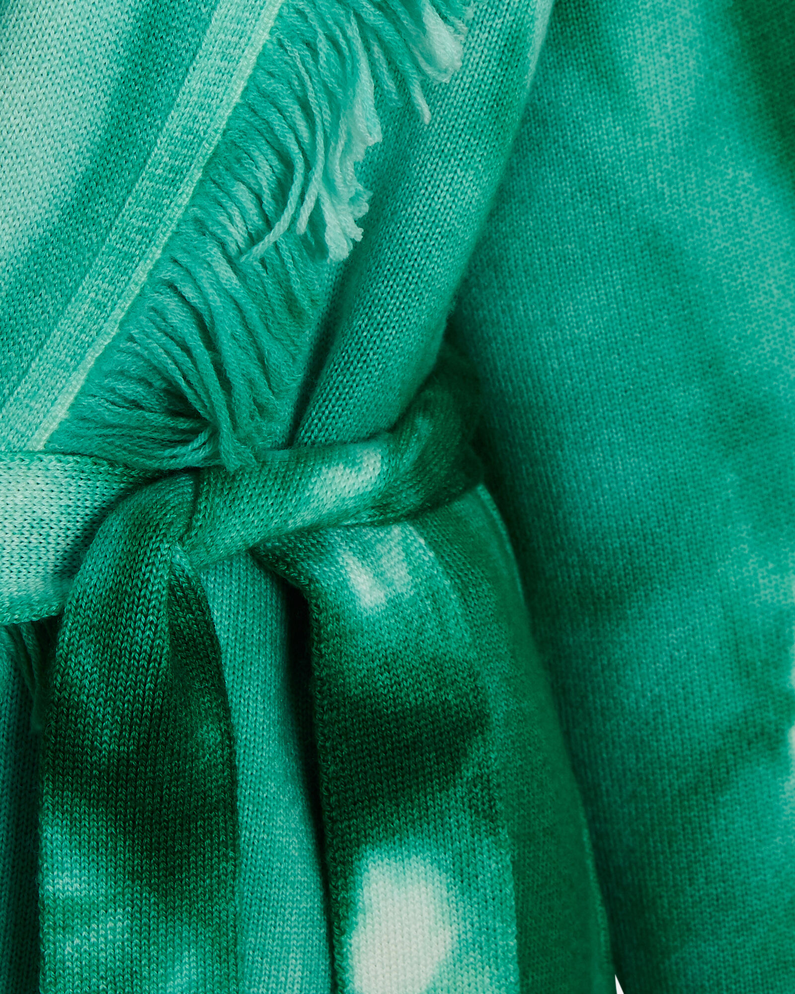 Tie-Dye Wool Wrap Cardigan, GREEN, hi-res