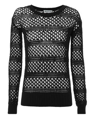 Natalia Open Knit Sweater, BLACK, hi-res