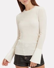 Bell Sleeve Knit Top, WHITE, hi-res
