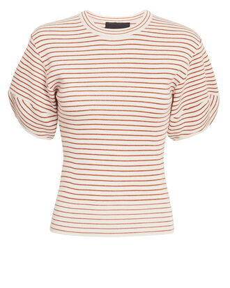Rib Stripe Puff Sleeve Knit Top, IVORY/RUST, hi-res