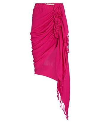 Tulum Ruched High-Low Skirt, FUCHSIA, hi-res