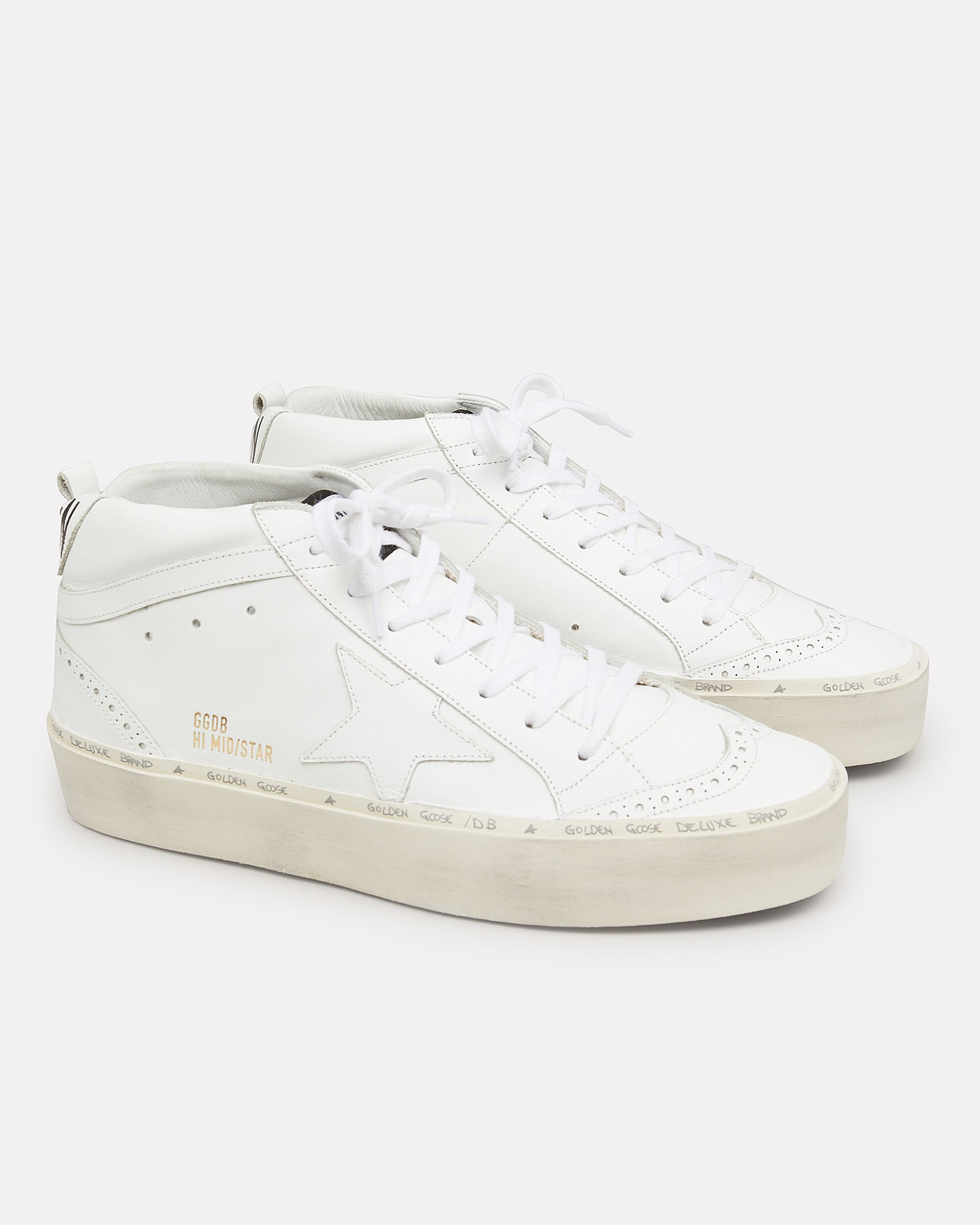 Hi Mid Star White Leather Platform Sneakers, WHITE, hi-res