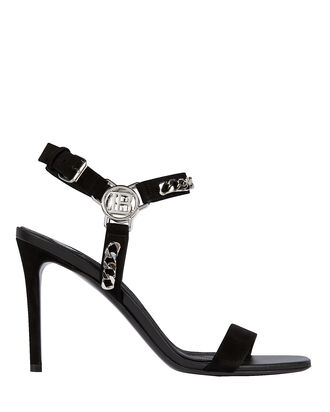 Logo Chain Strap Suede Sandals, BLACK, hi-res
