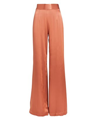 Lido Wide-Leg Satin Pants, ORANGE, hi-res