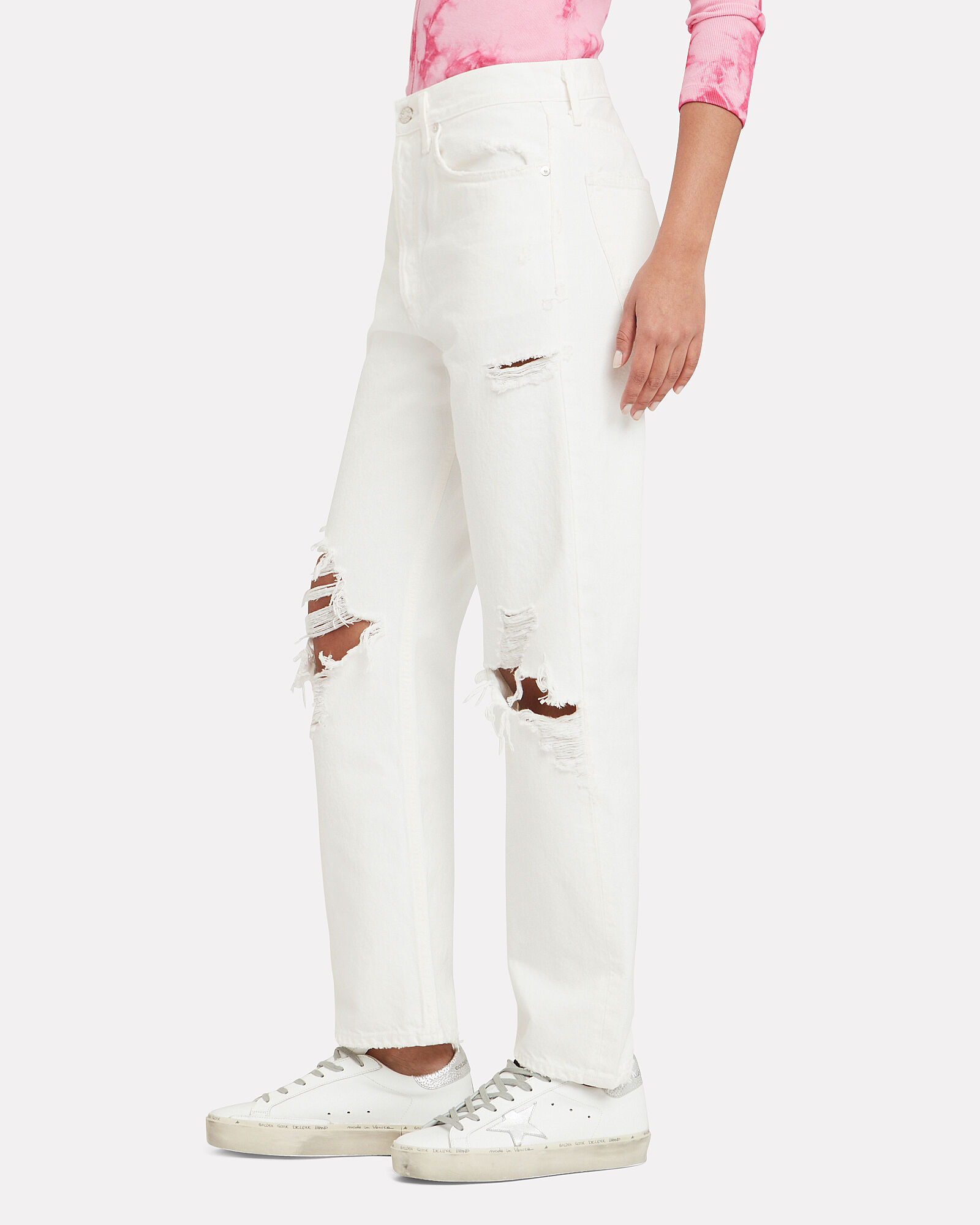90s Loose Fit Distressed Jeans, WHITE, hi-res