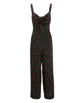 Tiffany Silk-Printed Jumpsuit, BLACK/RED, hi-res