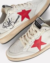 Ball Star Leather Sneakers, WHITE, hi-res