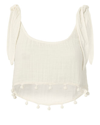 Gauze White Crop Top, WHITE, hi-res