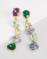 Mismatched Stone Drop Earrings, GOLD/RAINBOW, hi-res