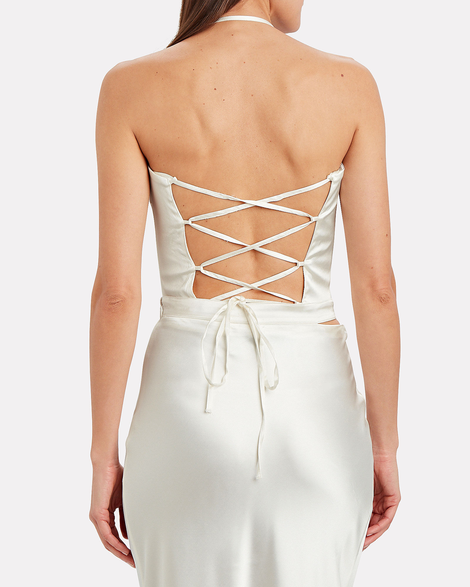 Turin Lace-Up Satin Bustier Top, IVORY, hi-res