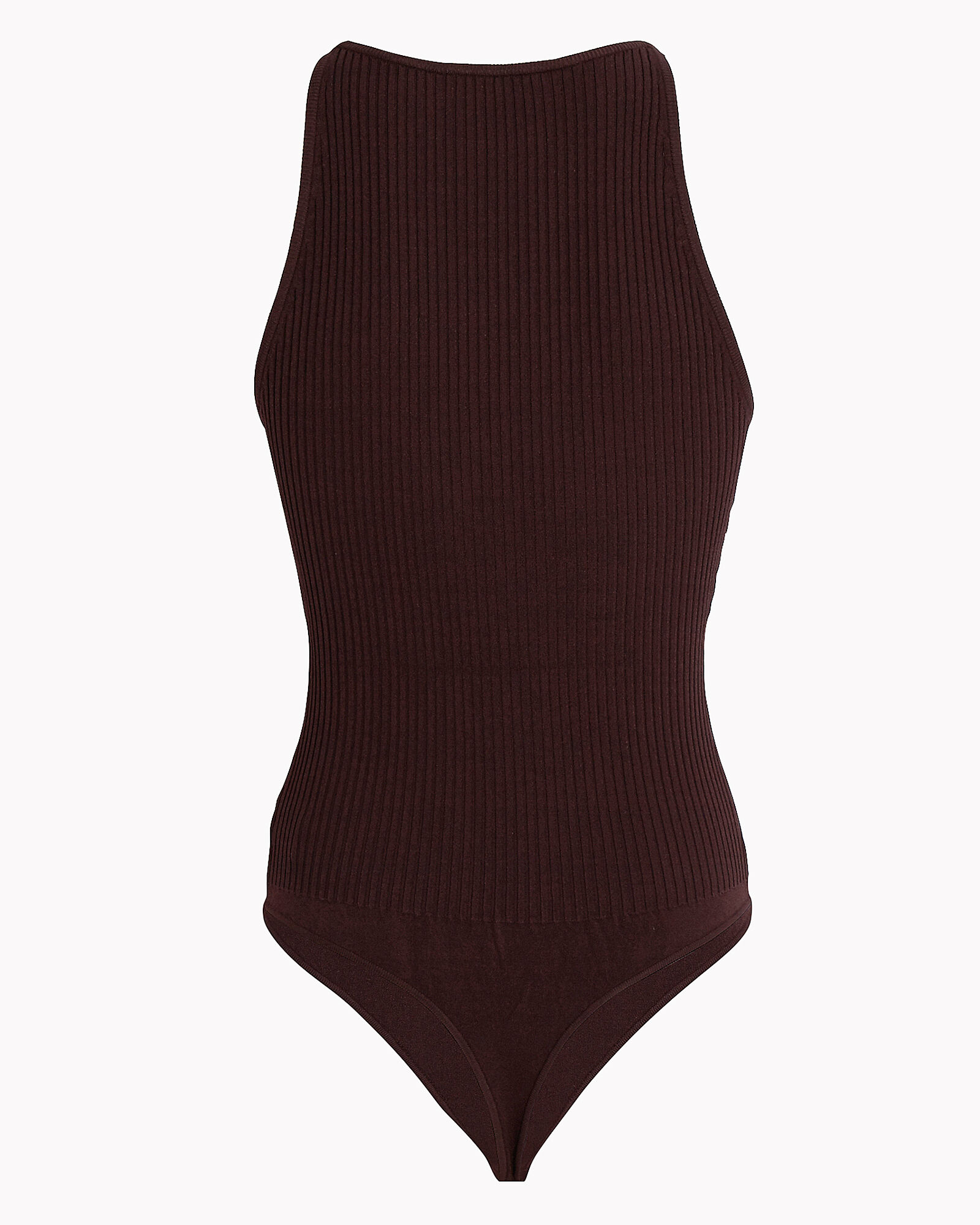 Ashley Rib Knit High Neck Bodysuit, Dark Brown, hi-res