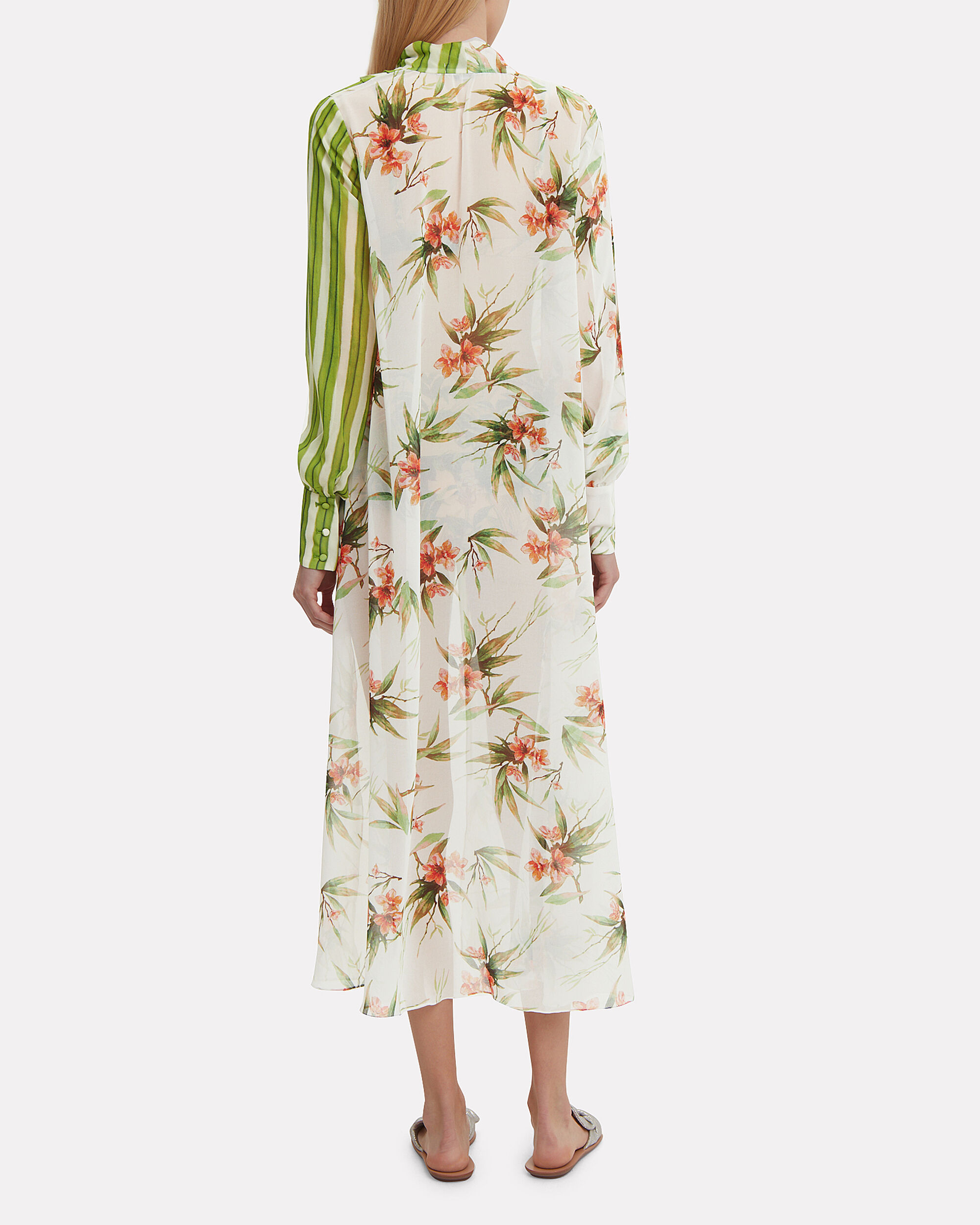 Mixed Print High-Low Tunic, GREEN/FLORAL, hi-res