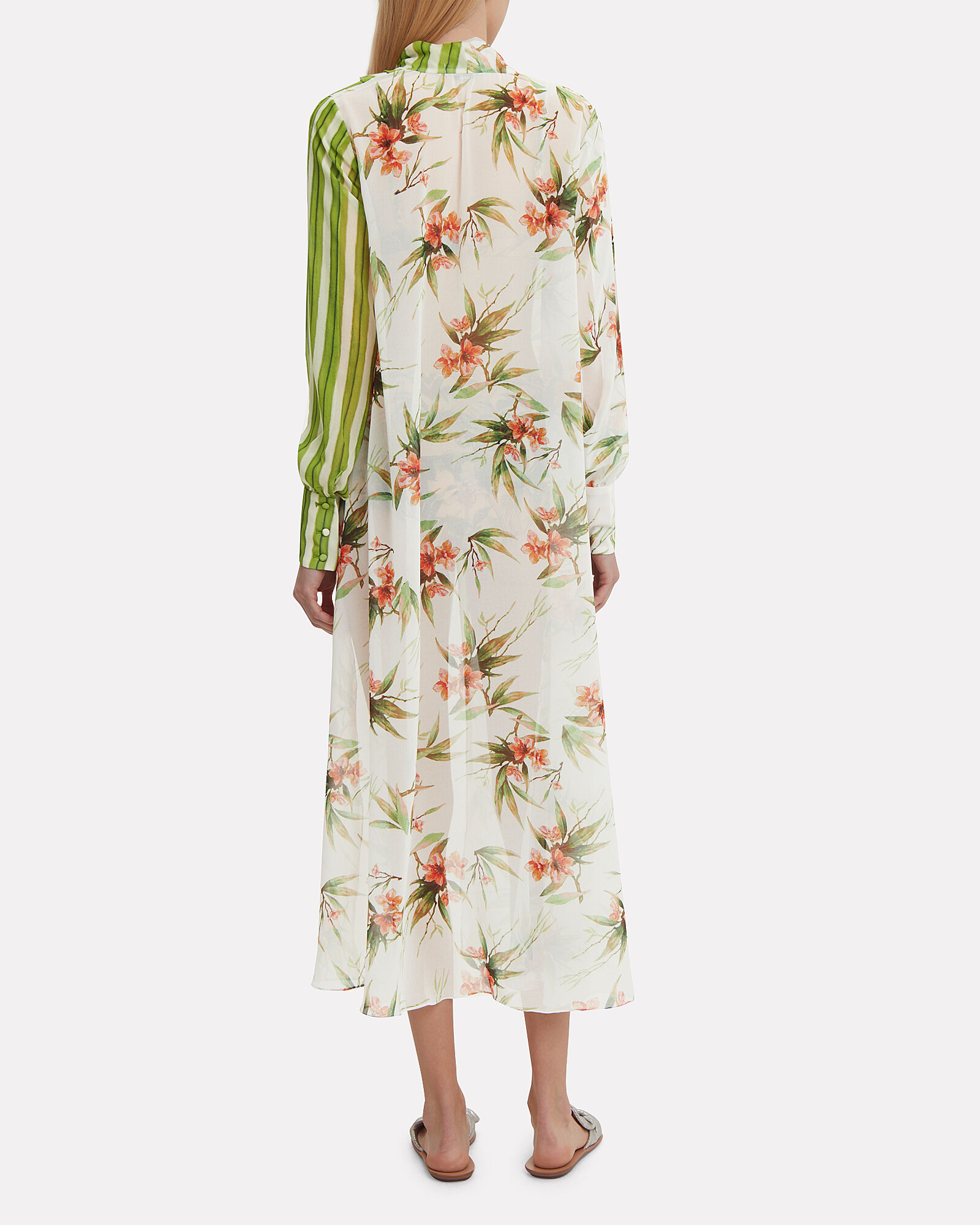Patchwork Front Tie Robe, GREEN/WHITE, hi-res